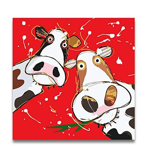 YUUWO Schilderij Door Getallen Twee Rode Koeien Cartoon Dieren Foto's Kleurplaten Met Verf Kleuren Handgemaakt Voor Thuis Muurdecoratie 40x50cm Framless