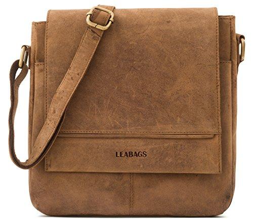 LEABAGS Messenger Bag/Umhängetasche/Schultertasche aus echtem Büffelleder - Unisex - Vintage -Washington- Brown