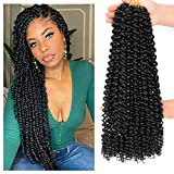 Dansama 6 Packs Passion Twist Hair Water Wave Braiding Hair for Butterfly Style Crochet Braids Bohemian Hair Extensions (18inch (Pack of 6), #1B)