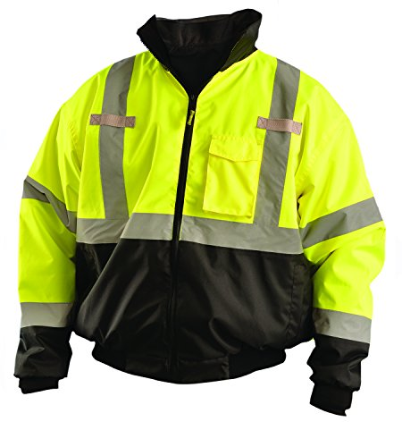 OccuNomix LUX-ETJBJR-BY3X High Visibility 3-in-1 Fleece Lined Black Bottom Bomber Jacket with Roll-Away Hood, Removable Lining and 6 Pockets, Class 3, 100% ANSI Polyester, 3X-Large, Yellow