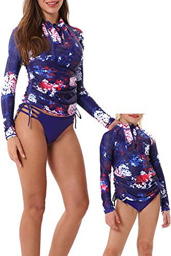 Women's UV Sun Protection Rashguard Side Adjustable Swim Shirt Long Sleeve Front Zipper Swimsuit Top and Bottom Rashguard Set Blue Floral Print-L