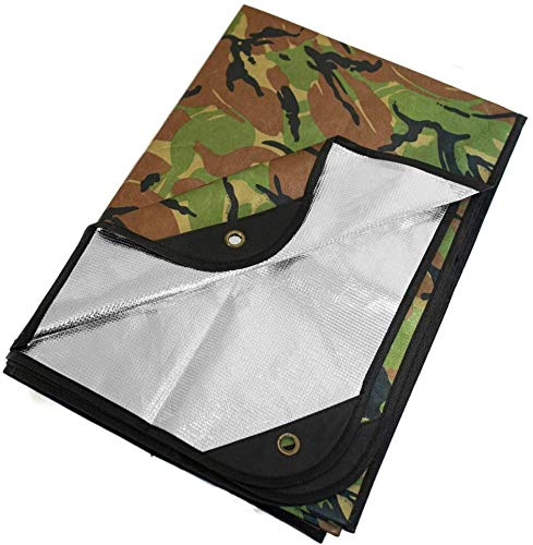 Arcturus Heavy Duty Survival Blanket – Insulated Thermal Reflective Tarp - 60' x 82'. All-Weather, Reusable Emergency Blanket for Car or Camping (Woodland Camo)