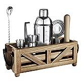TJ.Moree Barkeeper Kit mit Ständer, perfekt für Home Bar Dekor, 11-teiliges Cocktail-Set mit rustikalem Tablett und Holzmuddler für Mixgetränke