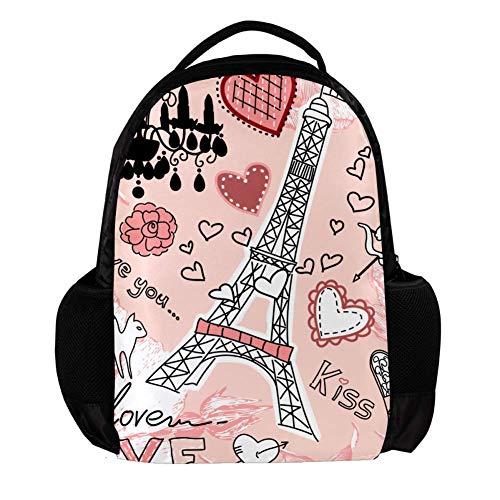 TIZORAX Paris Eiffel Toren Angel Cat Liefde Kus School Rugzak Rugzak College Bookbag Reizen Laptop Daypack Tas voor Mannen Vrouwen