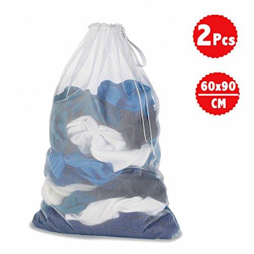 DoGeek -Sac à Linge - Filets de Lavage Sac a Linge-Sacs de Blanchisserie pour Protèger Les vêtements à Laver en Machine - Lot de 2 - Blanc