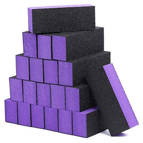 20 Pack Nail Buffer Block Sanding Buffing Nail Files Pedicure Manicure Tool 80/120 Grit(Purple Black)