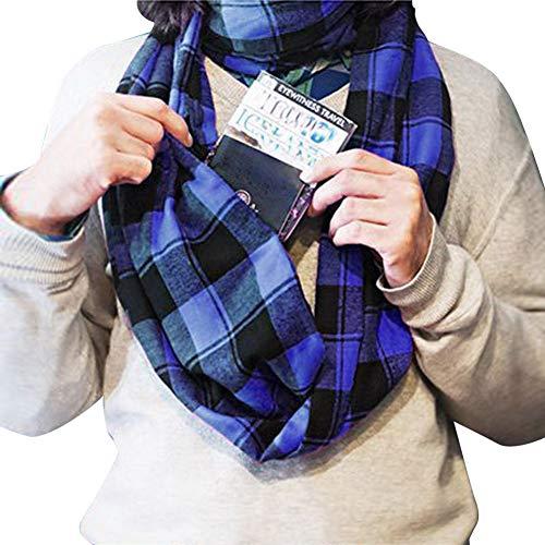 DJSHXC Schal Frauen Mann Plaid Print Cabrio Schal Schleife Reißverschluss Tasche Schals Schal für Frauen 2019 Neue 3 Farbe, Style 3