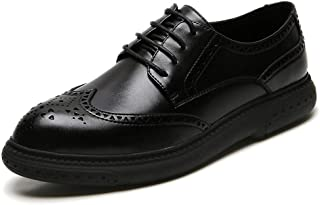 Bin Zhang Brogue Carving Oxfords for Men Casual Loafers Lace up Microfiber Leather Pointed Toe Platform Stitched Perforated Solid Color (Color : Black, Size : 7.5 UK)