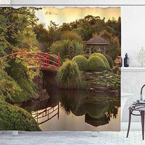 ABAKUHAUS japonés Cortina de Baño, Jardín de la Paz de Asia, Material Resistente al Agua Durable Estampa Digital, 175 x 180 cm, Verde Amarillo