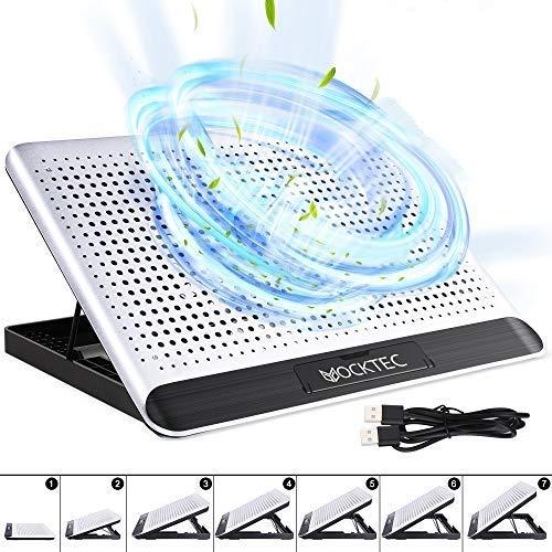 Yocktec basi di Raffreddamento per pc da 11-15.6 Pollici, 2 Porte USB, 6 Pegolazioni Dell altezza Cuscinetti di Raffreddamento Laptop, Lega di Alluminio, velocità Silenziosa del Vento