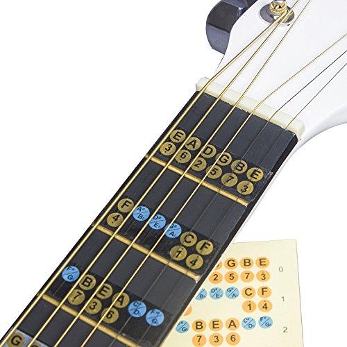 Calcomanía de escala de guitarra para diapasón de guitarra, notas, mapas, trastes, calcomanías para principiantes