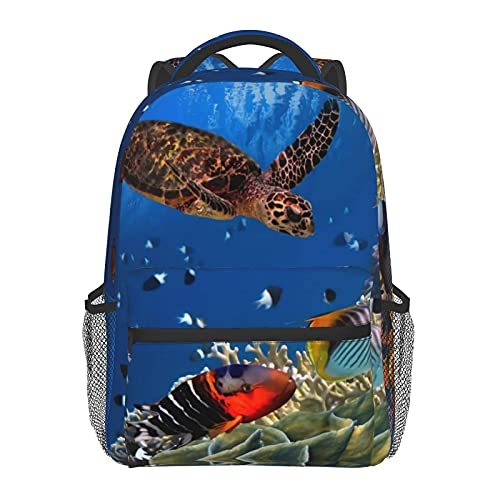 FJJLOVE Mochila de asas colorida del filón coralino Con resistentes Casual Bolsillos Mochila Con lado de la bolsa School Muchos peces y la tortuga de mar de fondo de agua Bookbag