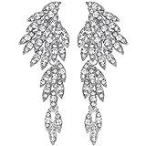 Mecresh - Orecchini pendenti in argento/oro/nero/cristallo multicolore cristallo, gioielli alla moda e base metal, colore: A-clear, cod. EH209-silver