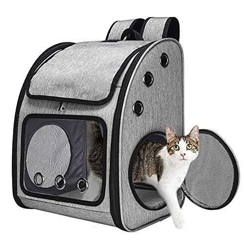 CATISM Haustier Rucksack für Hunde Katzen Rucksäcke Transport Katzenrucksack Hunderucksack Transporttasche Katze Tragetasche Haustiertragetasche Transportbox mit Katzenleine und Schüssel