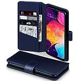 TERRAPIN, Kompatibel mit Samsung Galaxy A50 Hülle, [ECHT Leder] Brieftasche Case Tasche mit Standfunktion Kartenfächer & Bargeld- Blau