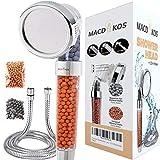 Macdikos Soffione per doccia ad alta pressione anticalcare, con filtro Eco, risparmio idrico, soffione per doccia con filtrazione ionica con 3 modalità regolabili più un tubo flessibile da 1,5 m