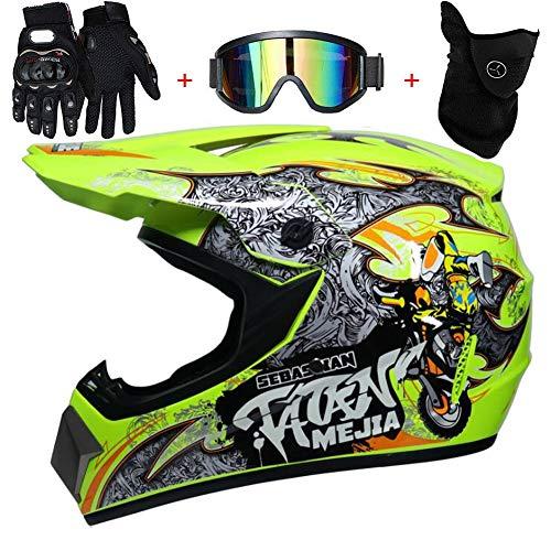 TKUI Motos Motocross Cascos y Guantes y Gafas estándar para niños ATV Quad Bicicleta go Casco de Kart,M(54~55cm)
