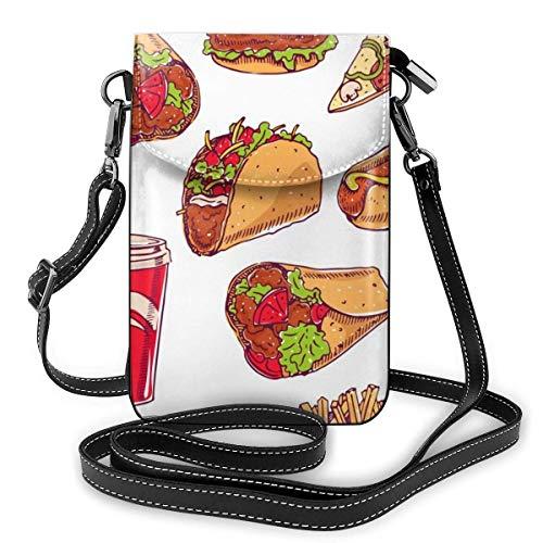 shenguang Hot Dog Hamburger Pizza Slice Muster Mode Kleine Handy Geldbörse Mehrzweck Umhängetasche Brieftasche