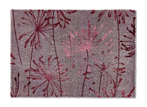 Schöner Wohnen Kollektion Rutschhemmende Sauberlaufmatten Manhattan – waschbarer Teppichläufer – strapazierfähige Schmutzfangmatten – (Pusteblume grau-Rose, 67 x 100 cm)