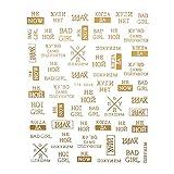 Babettew DIY Russische Wörter Schwarzes Gold Summer Design Dekoration von Nagelkunst Klebstoff Dekal 3D Buchstaben null(08)