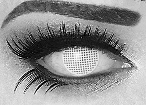Funnylens 1 Paar farbige weisse weiße white screen crazy Jahres Kontaktlinsen crazy contact lenses zombie White Screen / weiße Augen 1 Paar perfekt zu Fasching und Karneval (2 Stück) incl. Gratis Linsenbehälter! ohne Stärke!