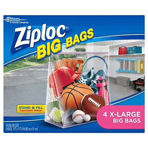 Ziploc Storage Bags, Double Zipper Seal & Expandable Bottom, Extra Large, 4 Count, Big Bag