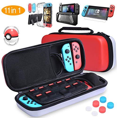 HEYSTOP Zubehör für Nintendo Switch,Tasche für Nintendo Switch Tragetasche,Switch Hülle,Displayschutzfolie,Pokeball Plus Schutzhülle,Thumbsticks Griffe,Transparent Hülle für Switch Konsole