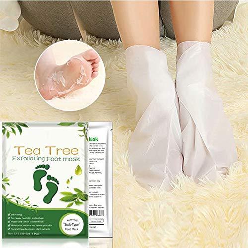 Big Bargain Store Chaussettes de réparation de la peau des pieds pour les peaux sèches Masque exfoliant pour les pieds craquelées vieillissantes Masque hydratant pour les pieds 3 paires Tea tree