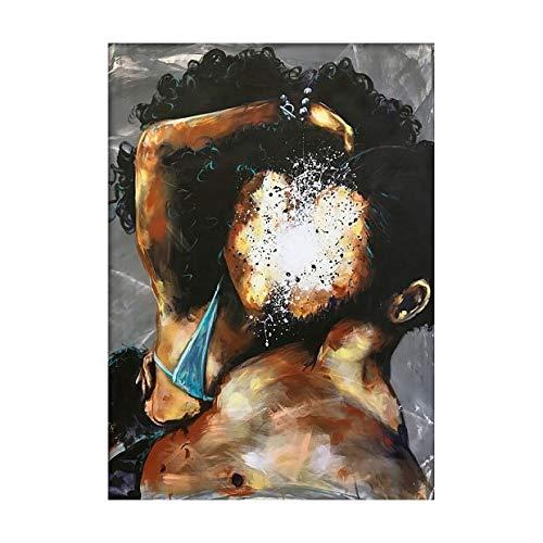 (Geen frame) 60x80 CM Home Decor Poster Modulaire Foto Nordic Stijl Afdrukken Pop Art Abstract Liefde Portret Muur Canvas Schilderij Voor Woonkamer