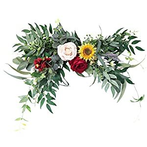 æ— Floral Swag, Artificial Peony Sunflower Swag,Colorful Spring Floral Swag with Rose/Daisy/Peonies/Sunflower, Wedding Arch Flowers Handmade Garland for Mirror Home Wedding Party Door