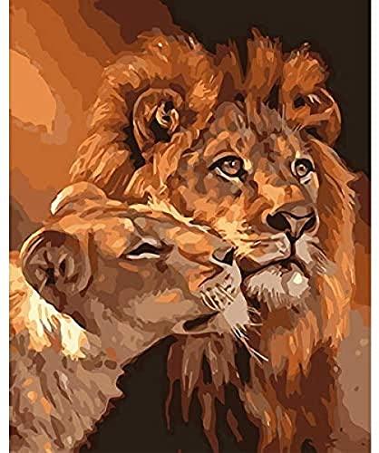 NC88 Dibujo por número Rey León Pintura al óleo por número Casa Sala de Estar Decoración de Pared Arte DIY Acrílico Lienzo Digital Pintado para niños y Adultos
