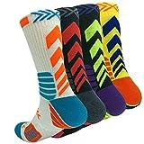 Basketball Socks Men Cushion Athletic Outdoor Compression Crew Sock, Men's Running Sports Socks 4 Pack