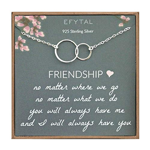 EFYTAL Best Friend Gifts Necklace, Sterling Silver Interlocking Circles, Bridesmaid Gift, Friendship...