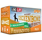 LonoLife Reduced Sodium Chicken Bone Broth Powder with 10g Protein, Paleo and Keto Friendly, Single Serve Cups, 10 Count