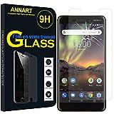 ANNART [1 pieza Protector de pantalla de cristal templado para Nokia 6 (2018)/Nokia 6.1 5.5', transparente