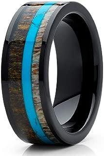 Silly Kings Deer Antler 8mm Wedding Band - Black Ring - Turquoise Wedding Ring - Antler Ring