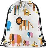 Zaino con Coulisse Borse Elefante Leone con elefantini Giraffa Zaino Sportivo per Palestra per Adulti Leggero 36 x 43 cm / 14,2 x 16,9 Pollici
