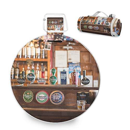 FANTAZIO Bar Theke Cool Bier-Picknick-Decke, Outdoor-Decke, doppellagig, wasserabweisend, handliche Matte Tote, ideal für den Strand, Camping auf Gras Wasserdicht Sanddicht
