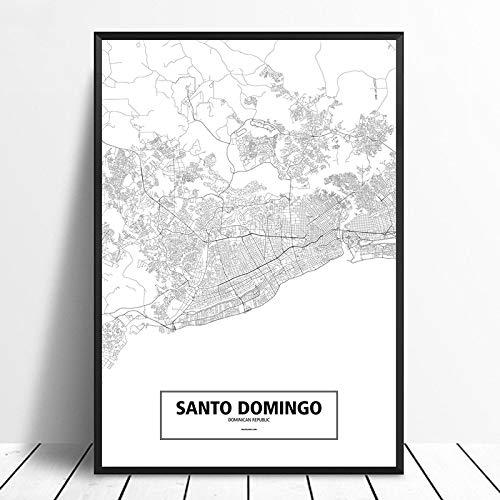 Cuadro En Lienzo,El Minimalismo Santo Domingo Negro Blanco M