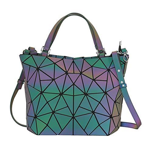 Geometrische Leuchtend Tasche Handtasche Scherbe Gitter Design PU-Leder Holographisch Geldbörsen Umhängetasche Damen Tasche Schultertasche mit Reißverschluss für Frauen mädchen
