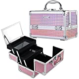 Frenessa Portable Makeup Train Case Cosmetic Organizer Box 2 Trays Lockable with Keys and Mirror Carrying with Handle Travel Storage - Pink