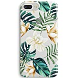 iPhone 8 Case,iPhone 7 Cute Case,Cute Girls Women Flowers Coffee Floral Bahama Green Leaves with White & Brown Flowers Aloha Summer Tropical Roses Clear Soft Case Compatible for iPhone 7/iPhone 8