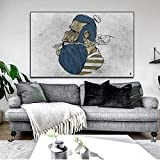 QWESFX Abbildung Poster Wandbild Wandkunst Alter Mann raucht Öl Leinwand Gemälde Bild an der Wand für Wohnzimmer Home Decor E 60x120cm