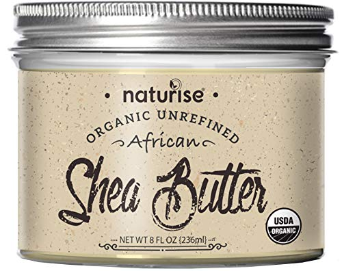 Naturise Shea Butter Raw Organic Unrefined Ivory 8 fl oz, Highest Grade African Shea Butter, Great for DIY Skincare Products and Body Butter Moisturizer for Dry Skin, Eczema, and Hair Care (8 Fl oz)