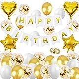 HEBANG Geburtstagsdeko Gold Set, Geburtstag Dekoration Gold, Happy Birthday Girlande, Geburtstagdeko Gold Partydekoration, Luftballons Geburtstag Gold für Mädchen Jungen Party Geburtstag