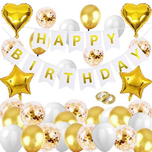 HEBANG Gold Birthday Party Decoration, Gold White Balloon Garland, Happy Birthday Banner, Gold Latex Confetti Sequin Balloon for Birthday Party, Baby Shower, Wedding, Man Woman Wedding Anniversary