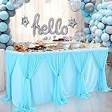 HBBMAGIC Falda de mesa de tul azul DIY estilo falda de mesa falda de fiesta decoración para bodas, cumpleaños, candelabros, Navidad, fiesta de bebé (longitud 275 cm x altura 76 cm)