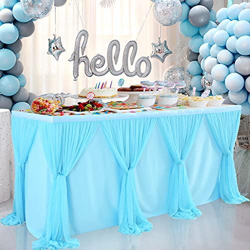 HBBMAGIC Falda de mesa para hacer tú mismo, color azul, 427 x 76 cm, para decoración de cumpleaños, fiestas de bebé, Candy Bar, bodas