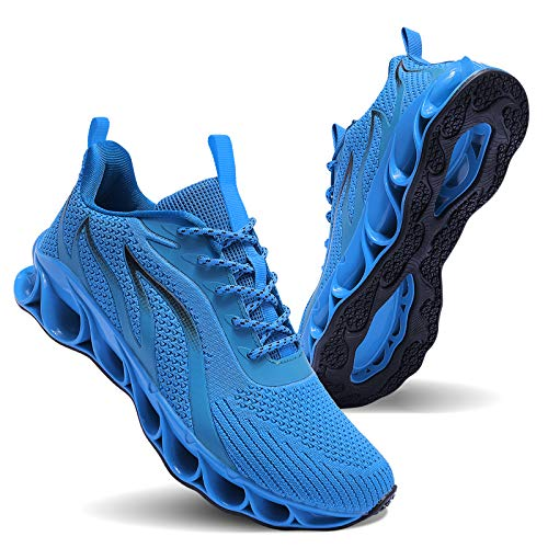 MOSHA BELLE Fashion Casual Shoes for Men Walking Athletic Slip Golf Running Basketball Shoes Sky Blue Size 10.5