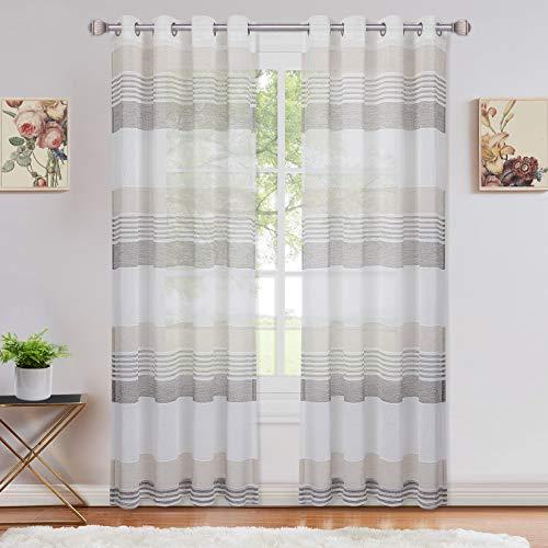 LinTimes Tenda trasparente, sciarpa, tende in voile a righe con occhielli, tenda per finestra semitrasparente per soggiorno, camera da letto, set di 2, 132 * 160 cm, marrone